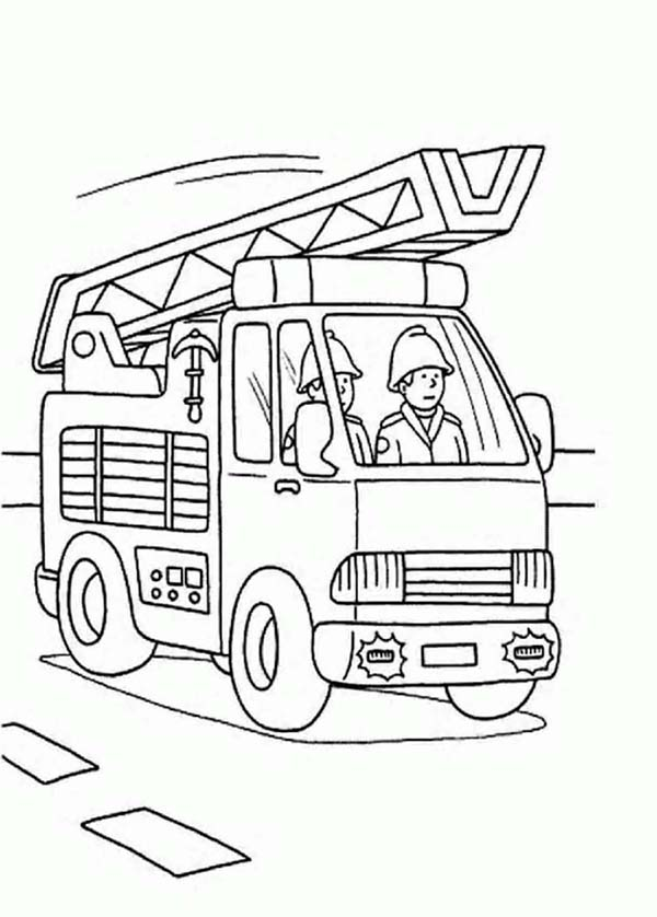 Fireman, : Fireman on Fire Car Coloring Page