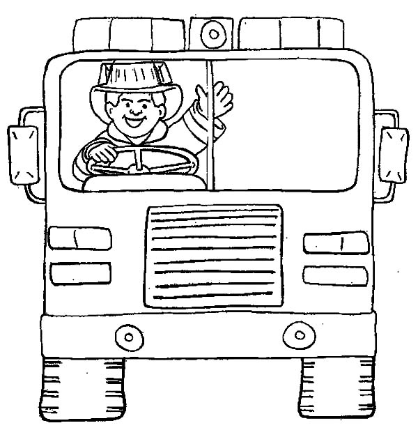 Fireman, : Fireman on Fire Vehicle Coloring Page