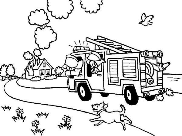 Fireman, : Fireman on the Way to House on Fire Coloring Page