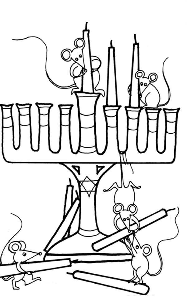 Chanukah, : Four Mice Putting Chanukah Menorah Coloring Page