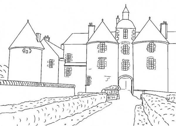 Medieval Castle, : France Medieval Castle Coloring Page