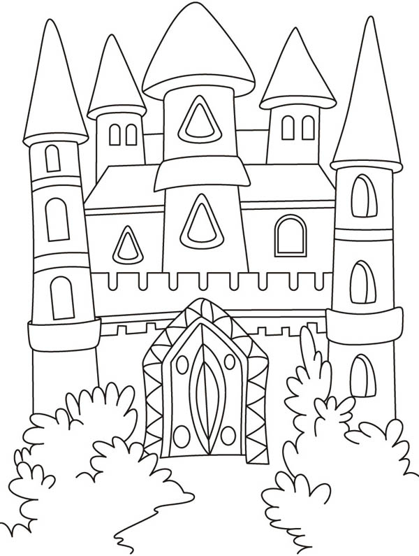 Medieval Castle, : Front Yard of Medieval Castle Coloring Page