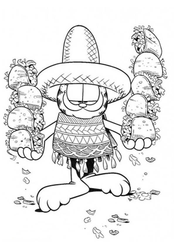 Mexican Fiesta, : Garfield Holding Mexican Food at Mexican Fiesta Coloring Page
