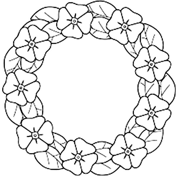 California Poppy, : Garland of California Poppy Coloring Page