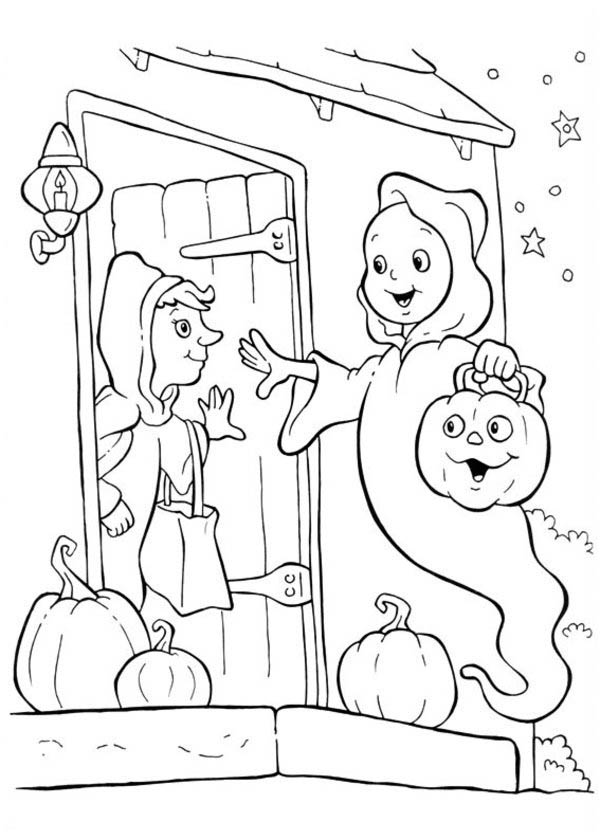 Funschool Halloween, : Ghost Trick or Threat in Funschool Halloween Coloring Page