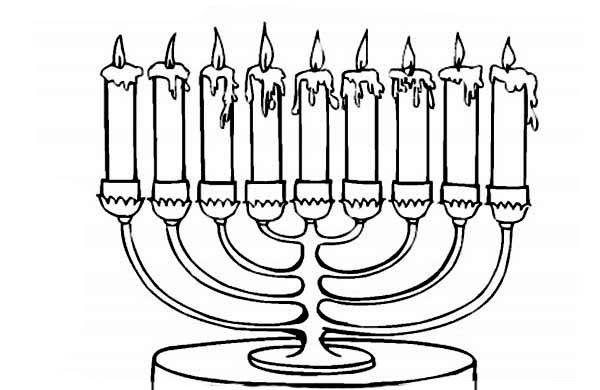 Menorah, : Hanukkah Menorah Coloring Page