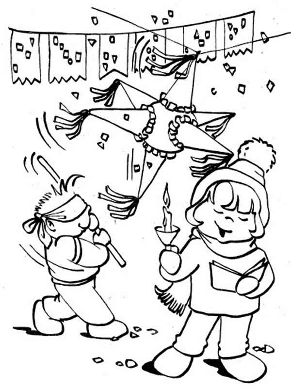 Pinata, : Happy Birthday Pinata Coloring Page