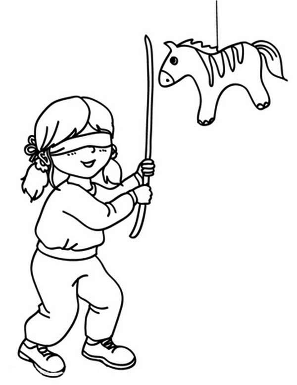 Pinata, : Hitting Mexican Pinata with Stick Coloring Page