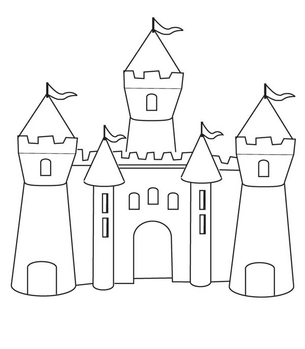 Medieval Castle, : How to Draw Medieval Castle Coloring Page