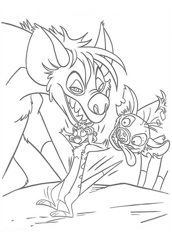 Hyena, : Hyena Intimidating Timon Coloring Page