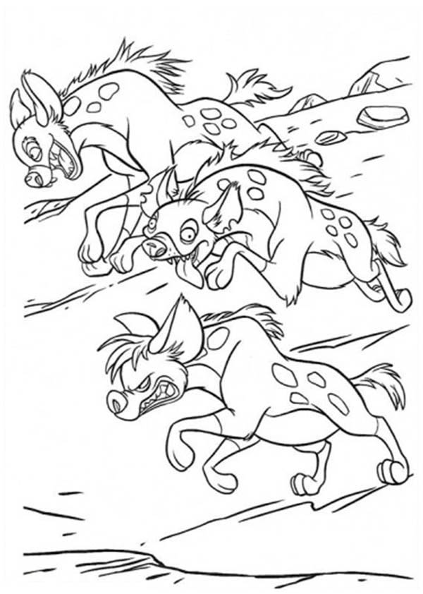 Hyena, : Hyena Running in the Lion King Movie Coloring Page