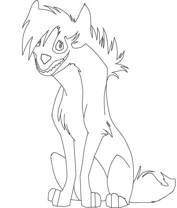 Hyena, : Hyena with Spikey Hair Coloring Page