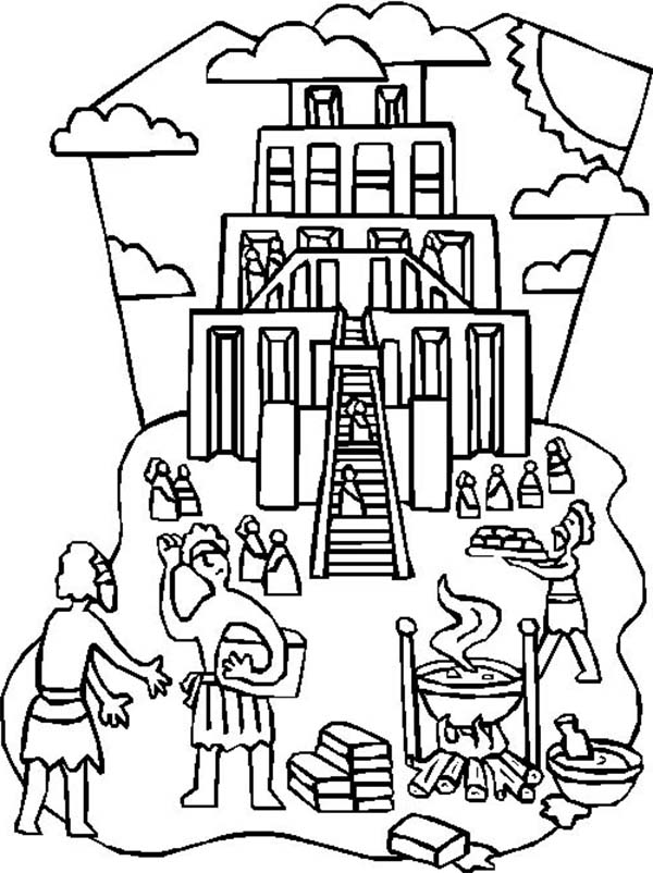 Tower of Babel, : Illustration of Building Tower of Babel Coloring Page