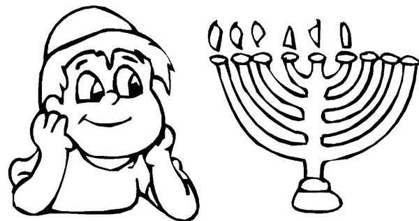 Menorah, : Jewish Boy and Menorah Coloring Page