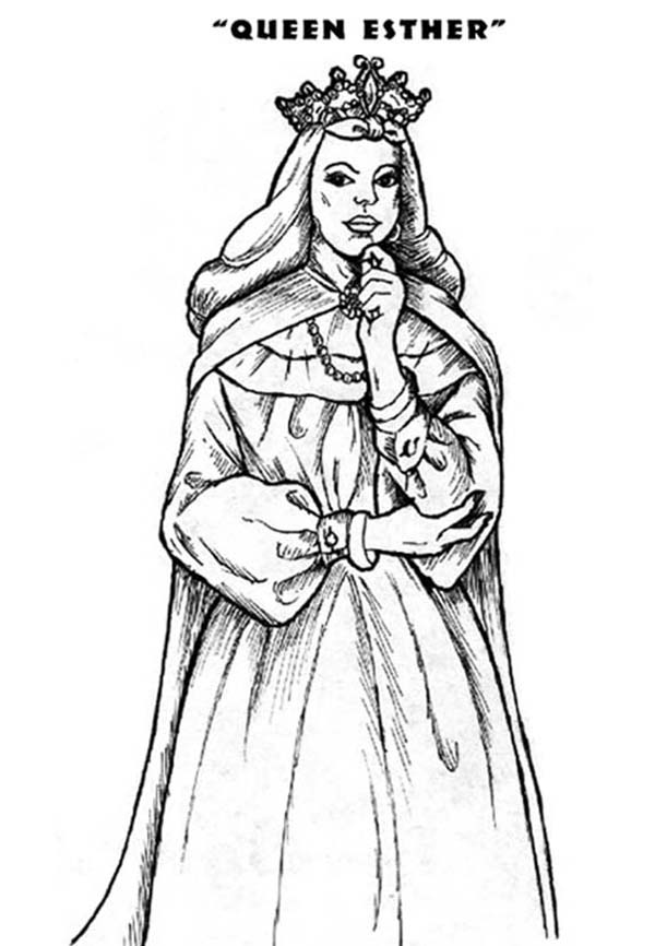 Queen Esther, : Jewish Queen Esther of a Persian King Ahasuerus Coloring Page