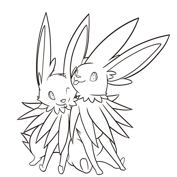 Jolteon, : Jolteon Couple Coloring Page