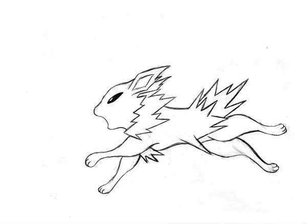 Jolteon, : Jolteon Running Coloring Page
