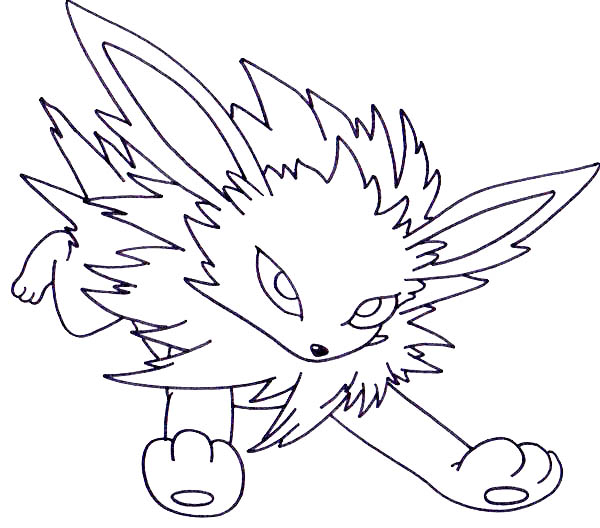 Jolteon, : Jolteon Running Forward Coloring Page