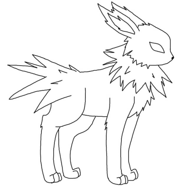 Jolteon, : Jolteon Standing Ready Coloring Page