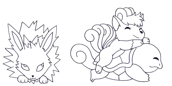 Jolteon, : Jolteon and Squirtle and Vulpix Coloring Page