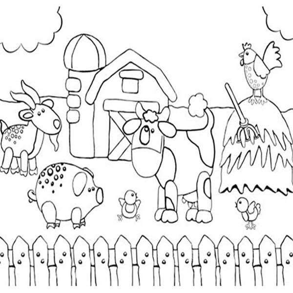 Farm Animal, : Kid Drawing of Farm Animal Coloring Page