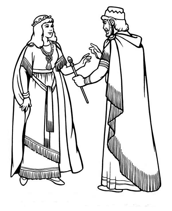 Queen Esther, : King Ahasuerus and Queen Esther Coloring Page