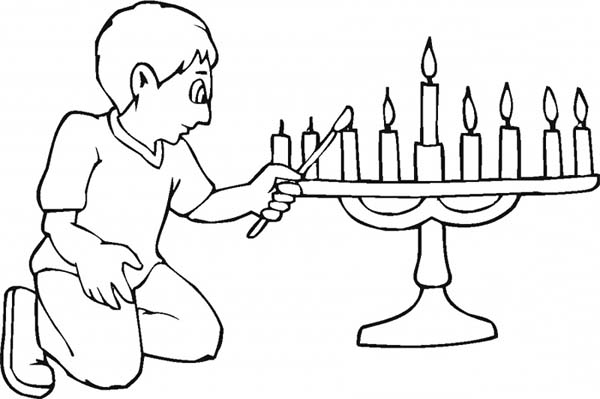 Menorah, : Light Menorah for Hanukkah Coloring Page