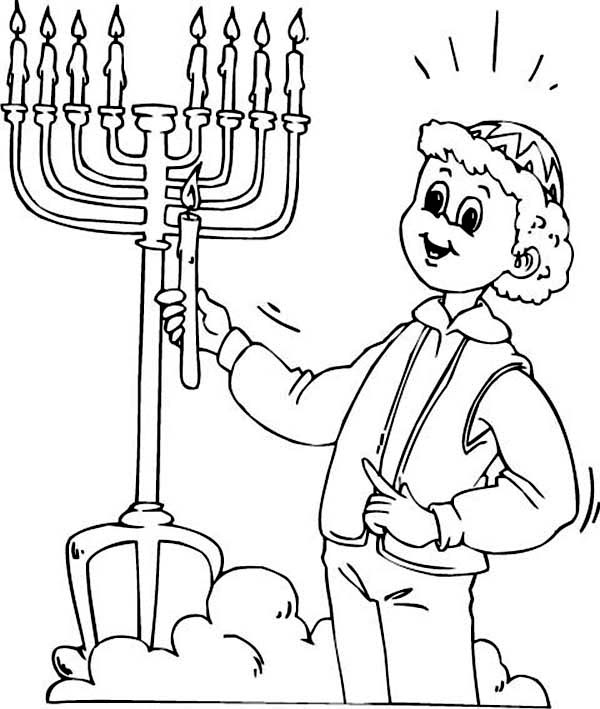 Menorah, : Light the Menorah Coloring Page