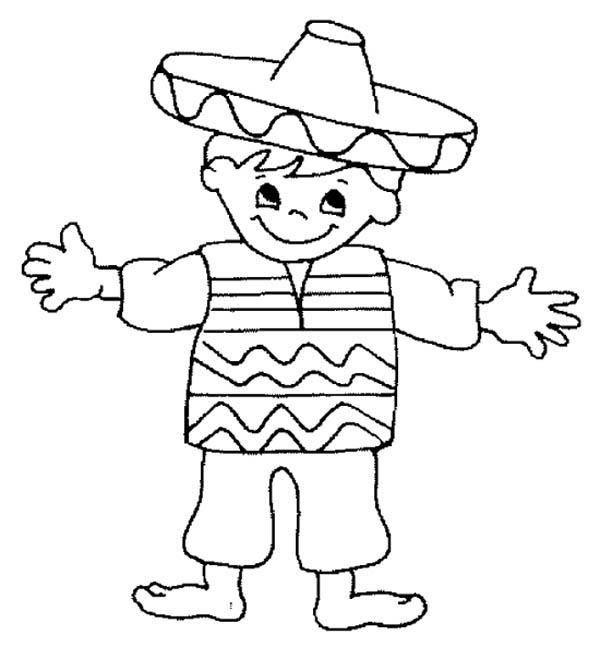 Mexican Fiesta, : Little Mexican Boy in Mexican Fiesta Coloring Page