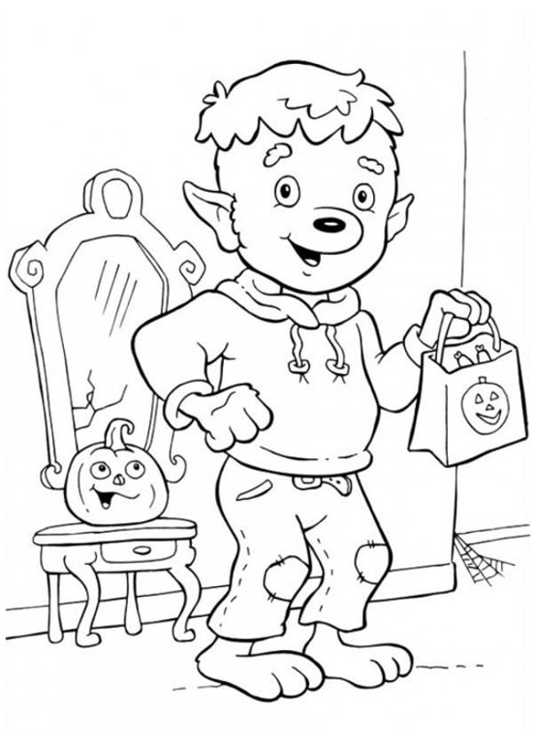 Funschool Halloween, : Little Werewolf Ready for Trick or Threat in Funschool Halloween Coloring Page
