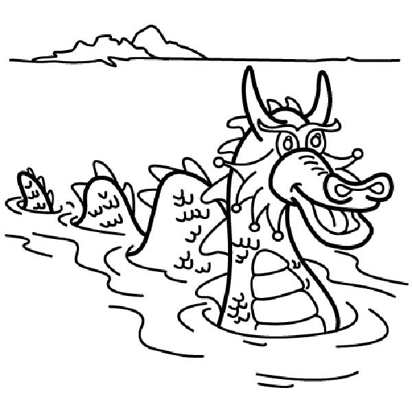 Sea Monster, : Long Sea Monster Swimming Coloring Page
