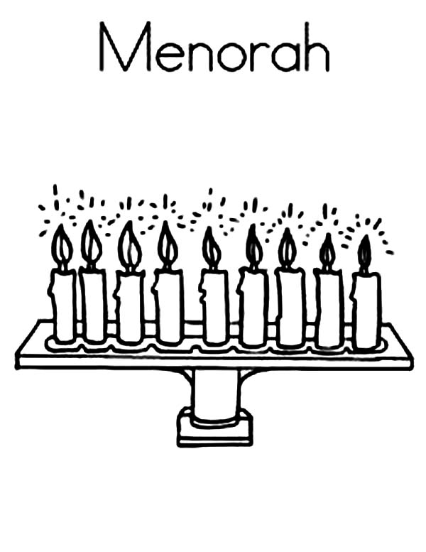 Menorah, : M is for Menorah Coloring Page