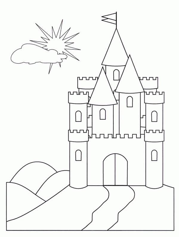 Medieval Castle, : Medieval Castle Front Face Coloring Page