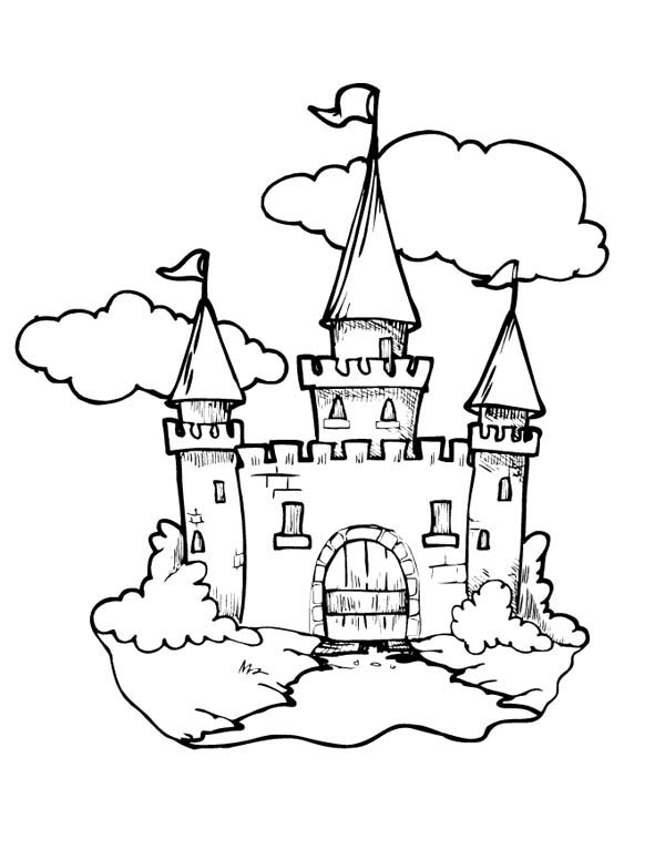 Medieval Castle, : Medieval Castle Front Gate Coloring Page