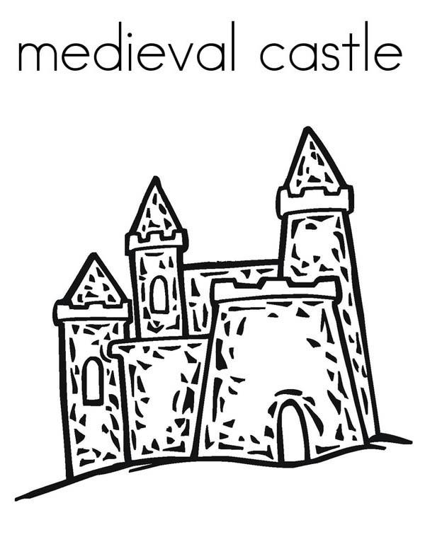 Medieval Castle, : Medieval Castle Image Coloring Page