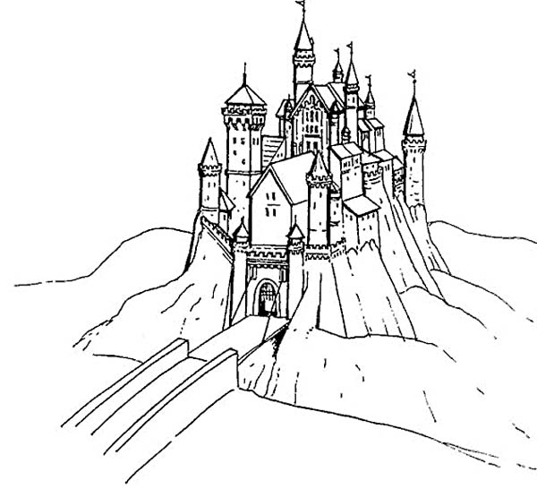 Medieval Castle, : Medieval Castle Over the Bridge Coloring Page
