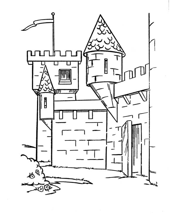 Medieval Castle, : Medieval Castle Side Angle Coloring Page