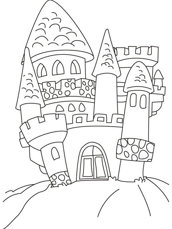 Medieval Castle, : Medieval Castle and Tower Look Like Mushroom Coloring Page