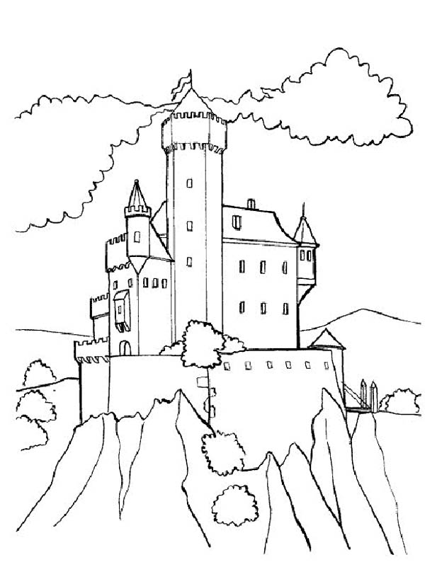 Medieval Castle, : Medieval Castle on Top of Hill Coloring Page