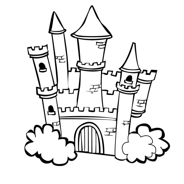 Medieval Castle, : Medieval Castle with Bush on the Side Coloring Page