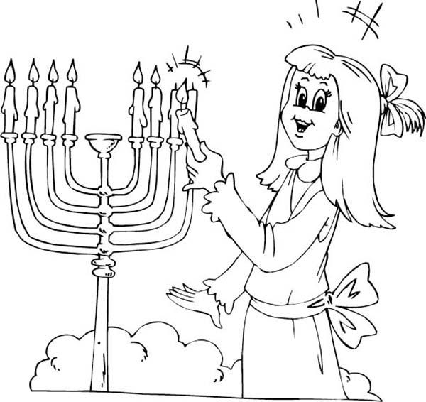 Menorah, : Menorah and Beautiful Jewish Girl Coloring Page