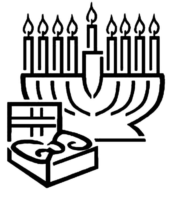 Menorah, : Menorah and Gift Box Coloring Page