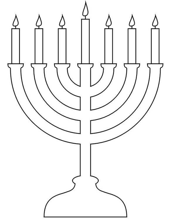 Menorah, : Menorah for Hannukah Coloring Page