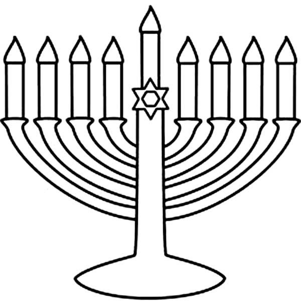 Menorah, : Menorah fro Chanukah Coloring Page