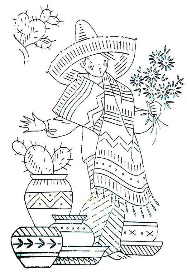 Mexican Fiesta, : Mexican Boy in Traditional Outfit at Mexican Fiesta Coloring Page