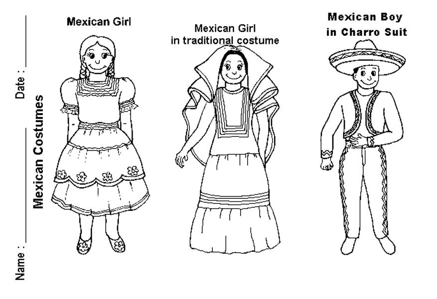 Mexican Fiesta, : Mexican Costume for Cinco de Mayo at Mexican Fiesta Coloring Page