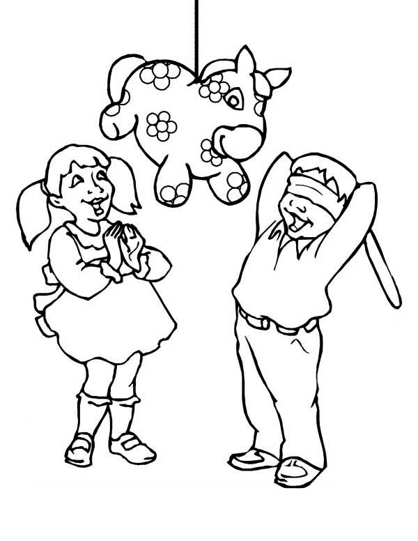 Pinata, : Mexican Culture Pinata Coloring Page