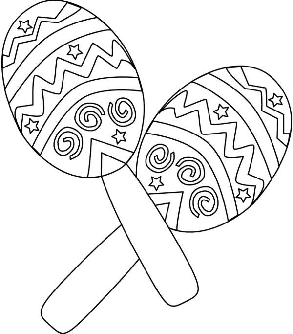 Mexican Fiesta, : Mexican Fiesta Maracas Coloring Page