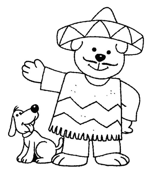 Mexican Fiesta, : Mexican Fiesta Mascot Coloring Page
