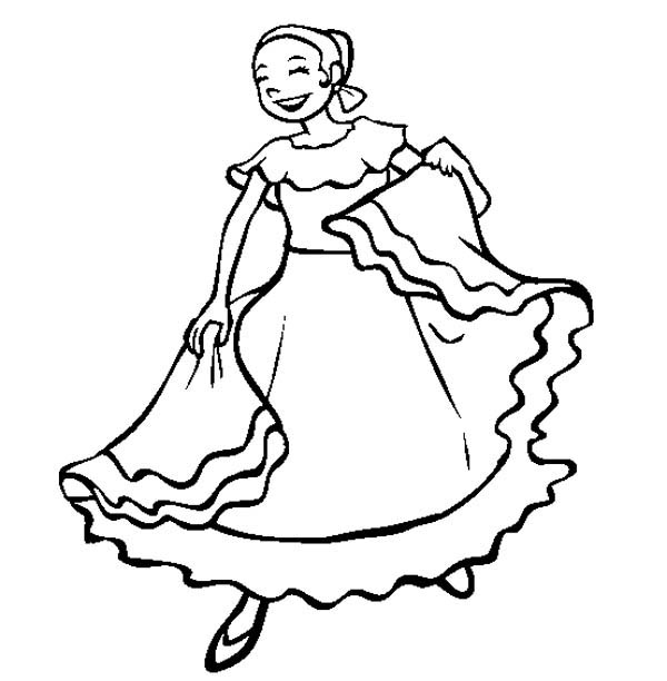 Mexican Fiesta, : Mexican Folk Dancing Girl in Mexican Fiesta Coloring Page